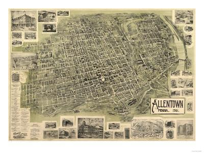 Allentown, Pennsylvania - Panoramic Map-Lantern Press-Art Print