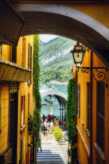 Alley With a Lake View, Bellagio, Lake Como, Italy-George Oze-Photographic Print
