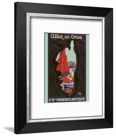 Allez en Corse (Go to Corsica) - Compagnie Générale Transatlantique (French Line)-Edouard Collin-Framed Art Print