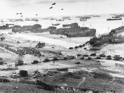 Allied Forces at a Beach in Normandy--Photographic Print
