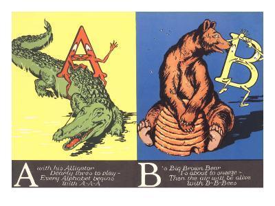 Alligator and Bear--Art Print