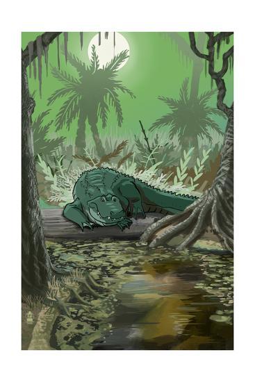 Alligator in Swamp-Lantern Press-Art Print