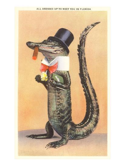 Alligator in Top Hat--Art Print