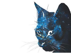Cosmic Cat Silhouette by Allison Gray