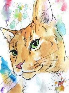 Green Eyed Orange Tabby Cat by Allison Gray