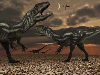 Allosaurus Dinosaurs Stalk their Next Meal-Stocktrek Images-Photographic Print