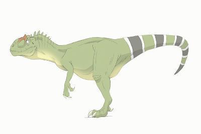 Allosaurus Pencil Drawing with Digital Color-Stocktrek Images-Art Print