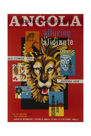 Alluring Angola Welcomes You, Tourism Office Travel Poster--Giclee Print