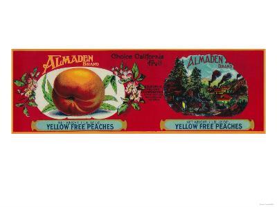 Almaden Peach Label - San Francisco, CA-Lantern Press-Art Print