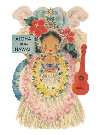 Aloha from Hawaii, Doll with Ukulele--Art Print
