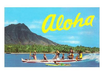 Aloha, Riding Outrigger, Hawaii--Art Print