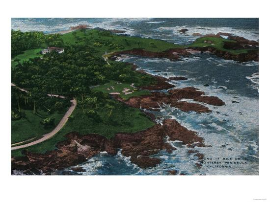 Along 17 Mile Drive on Monterey Peninsula - Monterey, CA-Lantern Press-Art Print