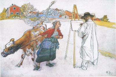 Along Came Joanna Leading Blomma the Cow-Carl Larsson-Giclee Print