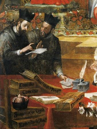 Discussion Between Two Jesuits, Detail from St Raymond of Penafort, Advisor to Pope Gregory IX