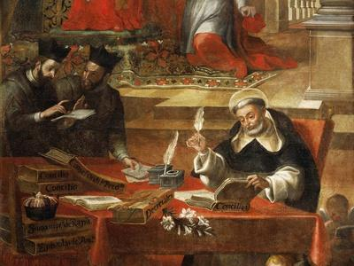Two Jesuits Talking While St Raymond Writes the Council, Detail from St Raymond of Penafort