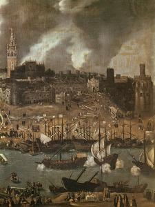 An Expedition Setting out from Seville for America in 1498 by Alonso Sanchez Coello