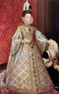 The Infanta Isabel Clara Eugenia with the Dwarf, Magdalena Ruiz, circa 1580 by Alonso Sanchez Coello