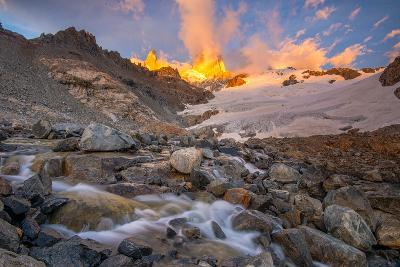 Alpenglow at Sunrise over a Patagonia Landscape with Snow and a Rushing, Cascading Stream--Photographic Print