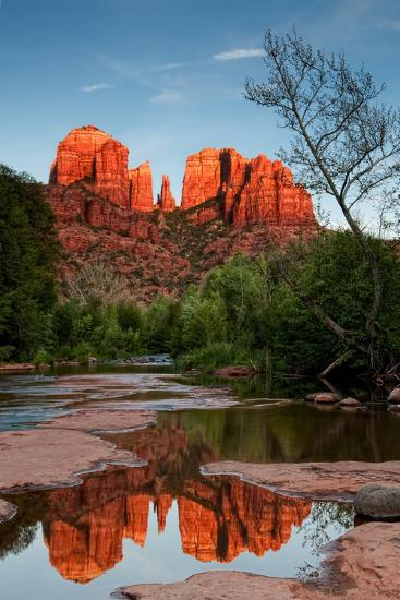Alpenglow on Cathedral Rocks-raphoto-Photographic Print