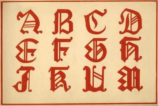 Alphabet, letters A-M, upper case-Unknown-Giclee Print