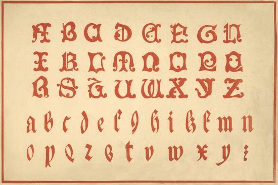Alphabet, letters A-Z, upper and lower case-Unknown-Giclee Print