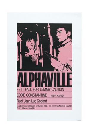 Alphaville, Swedish poster, Anna Karina, Eddie Constantine, 1965