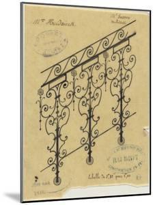 Projet de rampe d'escalier en fer forgé pour l'hôtel de Mme Heidsieck by Alphonse Gosset