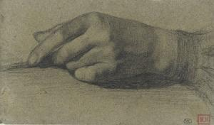 Etude de main gauche, les doigts repliés by Alphonse Legros