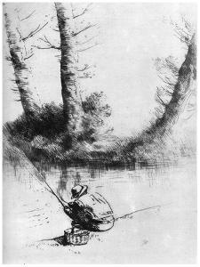 The Angler, C1860-1910 by Alphonse Legros