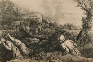 'The Burning Village', c1880 by Alphonse Legros