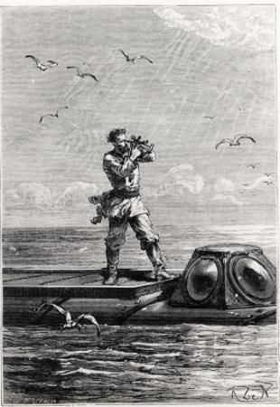 """Captain Nemo on Top of the Nautilus, from """"20,000 Leagues under the Sea"""""""