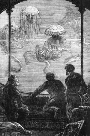 The Nautilus Passengers, Illustration from 20,000 Leagues under the Sea by Jules Verne (1828-1905)