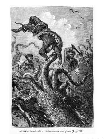 """The Octopus Attacking the Nautilus, Illustration from """"20,000 Leagues under the Sea"""""""