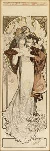 A Maquette for the Lithograph 'Programme 27 Octobre 1900', C. 1900 (Pencil, Ink, W/C) by Alphonse Mucha