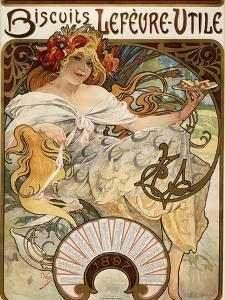 Biscuits Lefevre-Utile', Designed as a Calendar for 1897, 1896 (Lithograph in Colours) by Alphonse Mucha