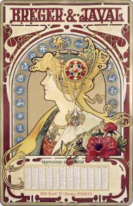 Breger Javal Calendar by Alphonse Mucha