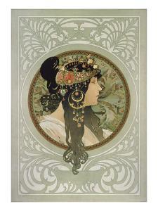 Brunette, 1897 by Alphonse Mucha