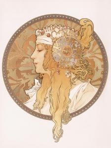 Byzantine Head of a Blond Maiden; Tete Byzantine D'Une Femme Blonde, C.1897 (Lithograph in Colours) by Alphonse Mucha