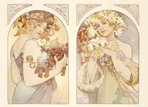 Fruits and Flowers by Alphonse Mucha