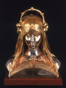 Head of a Girl, 1900 (Bronze, Silver and Parcel Gilt) by Alphonse Mucha