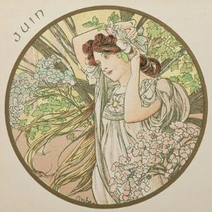 June, 1899 (Detail) by Alphonse Mucha