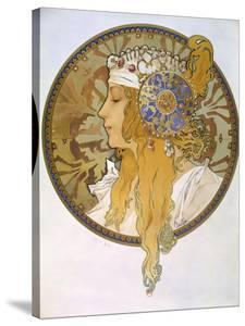 Medaillon with Portrait of a Blond Woman, 1897 by Alphonse Mucha