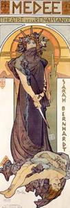 Medee, Sarah Bernhardt by Alphonse Mucha