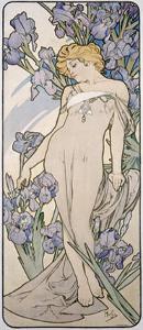 Mucha Nouveau Iris Flower Poster by Alphonse Mucha