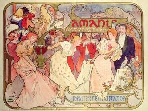Poster Advertising 'Amants', a Comedy at the Theatre De La Renaissance, 1896 by Alphonse Mucha