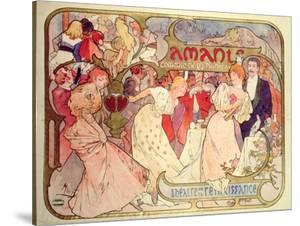 Poster Advertising 'Amants', a Comedy at the Theatre De La Renaissance, 1896 by Alphonse Mucha