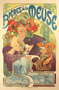 Poster Advertising 'Bieres De La Meuse', 1897 by Alphonse Mucha