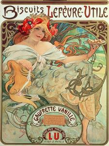Poster Advertising 'Lefevre-Utile' Biscuits, 1896 by Alphonse Mucha
