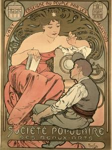 Poster Advertising the 'Societe Populaire Des Beaux-Arts, 1897 by Alphonse Mucha