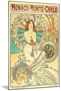 Poster Advertising Trains to Monte Carlo, Monaco, 1897 by Alphonse Mucha